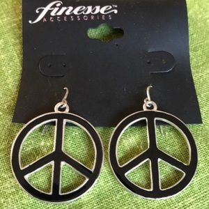 Finesse designer pair pierced peace sign earrings